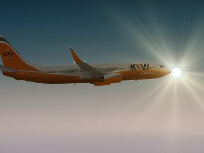 737 joue avec le soleil