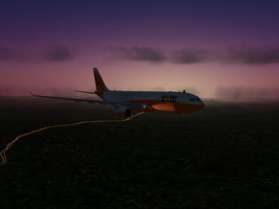 En approche de Brasilia dans le soleil couchant avec A332-200 F-KW73