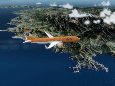 Passage devant la Corse , direction la Sardaigne , 737-800